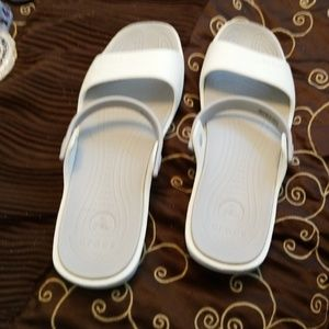 Lady's white and green crocs sandals